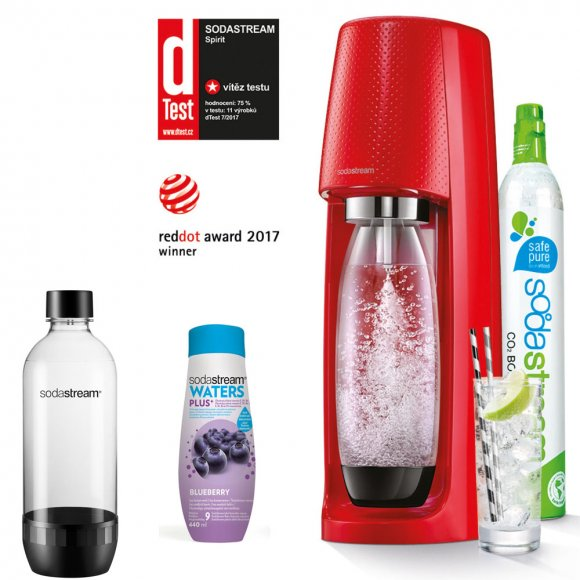 SODASTREAM Spirit Red + Lahev do myčky + Sirup