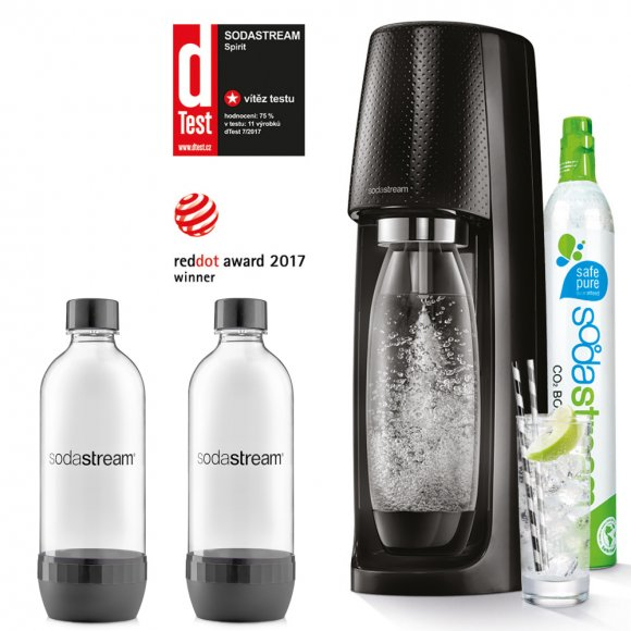 SODASTREAM Spirit Black + 2 ks lahví